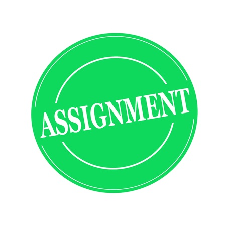 assignment: ASSIGNMENT white stamp text on circle on green background