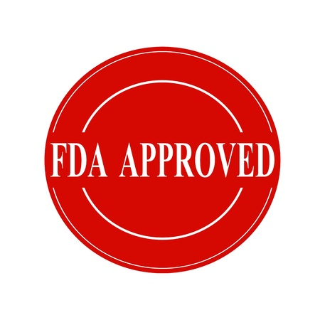 fda: FDA Approved white stamp text on circle on red background