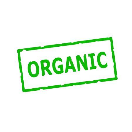 rectangular: Organic Green stamp text on Rectangular white background Stock Photo