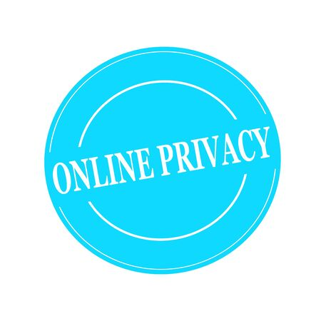 online privacy: ONLINE PRIVACY white stamp text on circle on blue background Stock Photo
