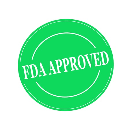 fda: FDA Approved white stamp text on circle on green background