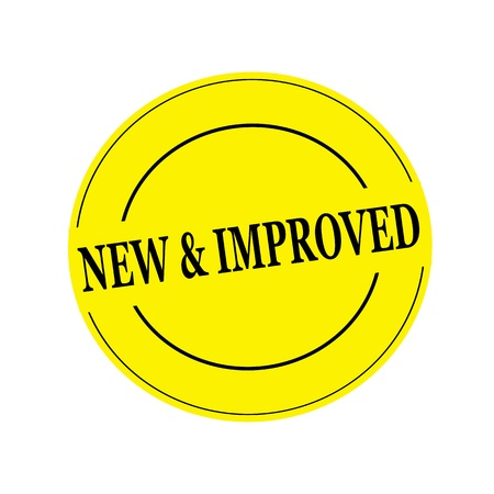 new and improved: new and improved stamp text on circle on yellow background Stock Photo