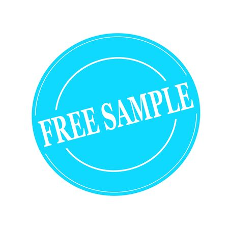 free sample: Free Sample white stamp text on circle on blue background