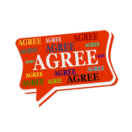 agree: Agree multicolored word on red  Speech bubbles Stock Photo