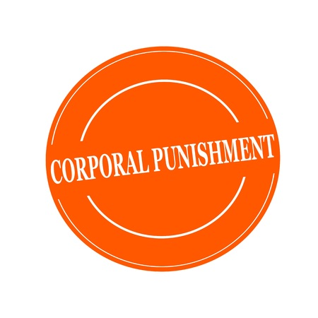 corporal: CORPORAL PUNISHMENT white stamp text on circle on orage background