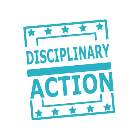 disciplinary action: DISCIPLINARY ACTION blue stamp text on squares on white background Stock Photo