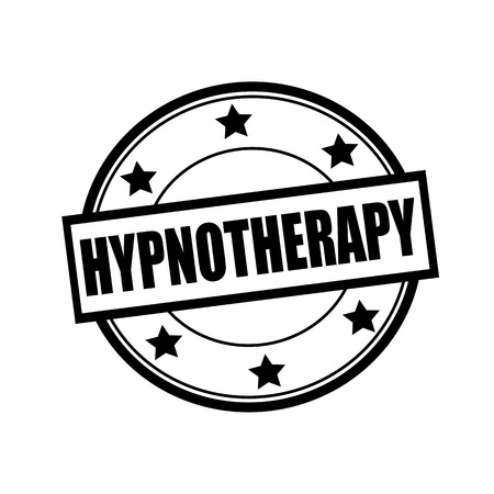 hypnotherapy: HYPNOTHERAPY black stamp text on circle on white background and star