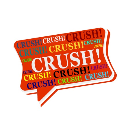 crush on: Crush multicolored word on red Speech bubbles Stock Photo