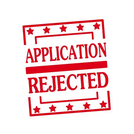 rejected: APPLICATION REJECTED  red stamp text on squares on white background