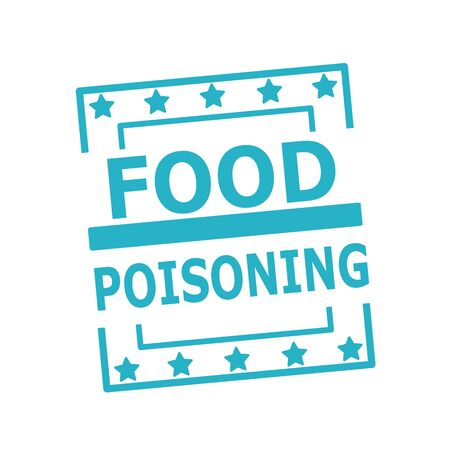 food poisoning: FOOD POISONING blue stamp text on squares on white background
