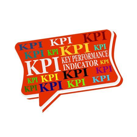 kpi: KPI - Key Performance Indicator multicolored word on red Speech bubbles