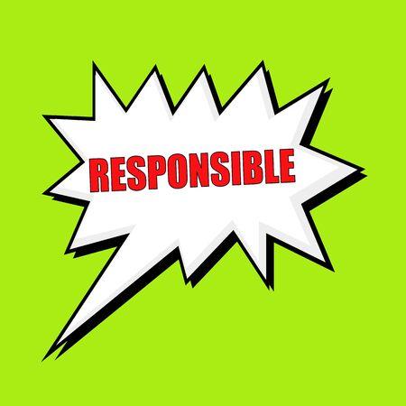 responsible: Responsible wording speech bubble Stock Photo