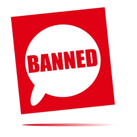 banned: banned speech bubble icon