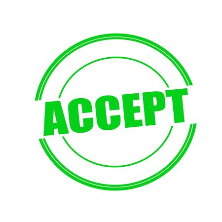 accept green stamp text on circle on white background Stock Photo