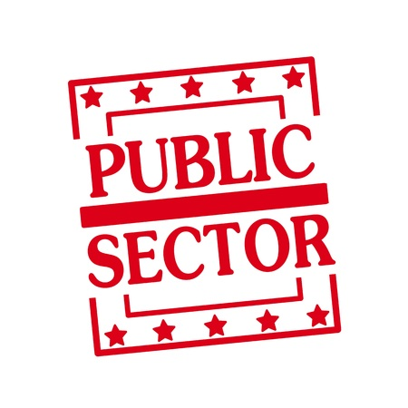 public sector: PUBLIC SECTOR red stamp text on squares on white background