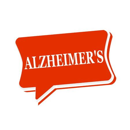 alzheimers: ALZHEIMERS multicolored text on red Speech bubbles