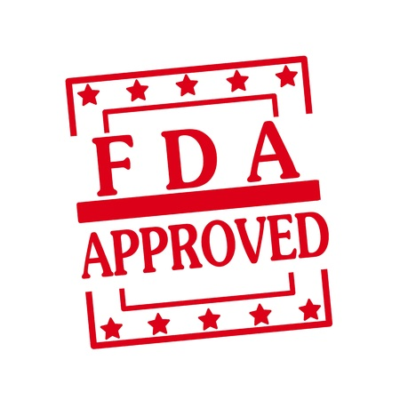 fda: FDA Approved red stamp text on squares on white background