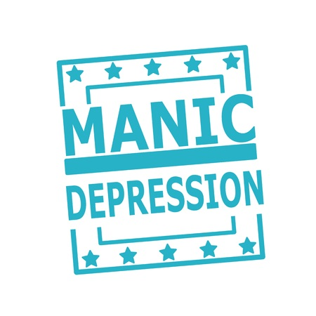 manic: MANIC DEPRESSION blue stamp text on squares on white background