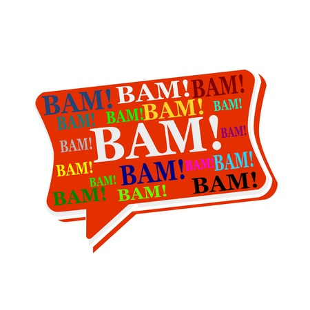 bam: BAM multicolored word on red Speech bubbles