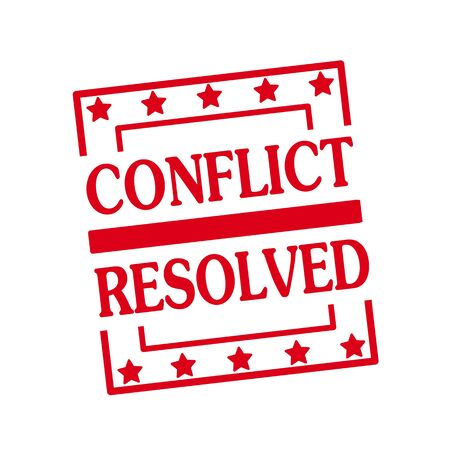 resolved: Conflict Resolved red stamp text on squares on white background Stock Photo
