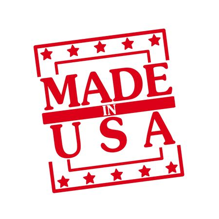 made in usa: MADE IN USA red stamp text on squares on white background Stock Photo