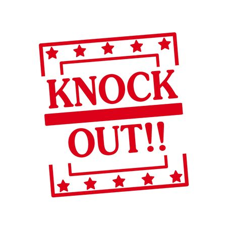 knock out: KNOCK OUT red stamp text on squares on white background
