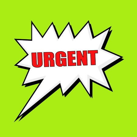 urgent: URGENT wording speech bubble
