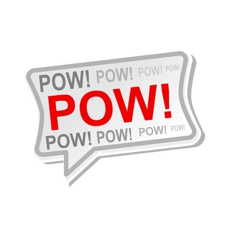 pow: pow multicolored word on gray Speech bubbles Stock Photo