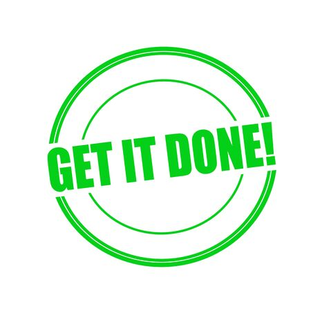 git: Git it done green stamp text on circle on white background Stock Photo