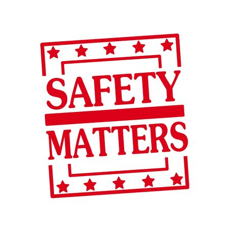 matters: Safety matters red stamp text on squares on white background