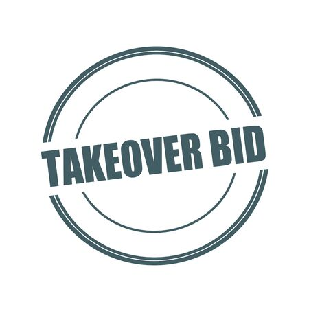 takeover: Takeover Bid Grey stamp text on circle on white background Stock Photo