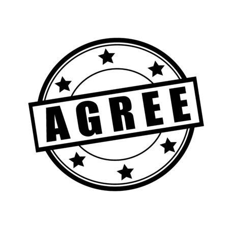 agree: De acuerdo sello texto negro en círculo sobre fondo blanco y la estrella Foto de archivo