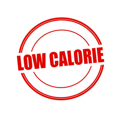 calorie: Low calorie red stamp text on circle on white background