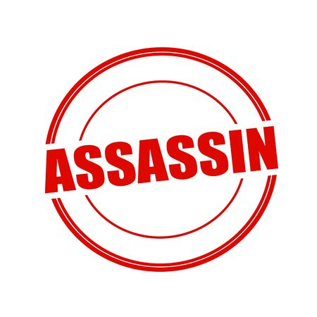assassin: ASSASSIN red stamp text on circle on white background