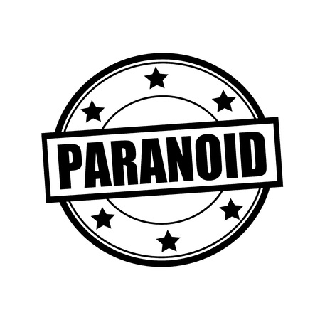 paranoid: PARANOID black stamp text on circle on white background and star