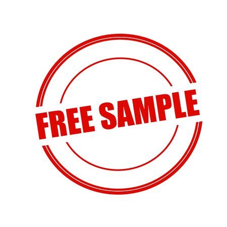free sample: Free sample red stamp text on circle on white background Stock Photo