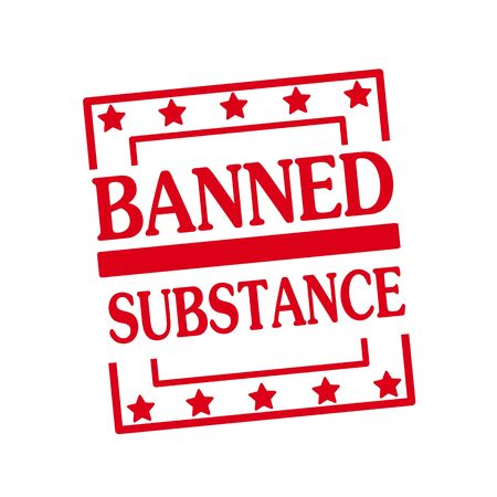 banned: BANNED SUBSTANCE red stamp text on squares on white background Stock Photo