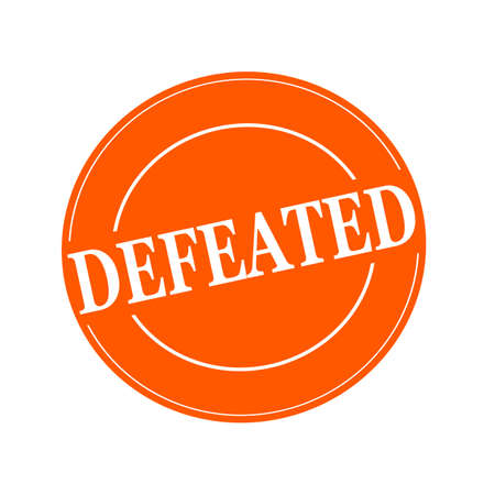 defeated: DEFEATED white stamp text on circle on orage background
