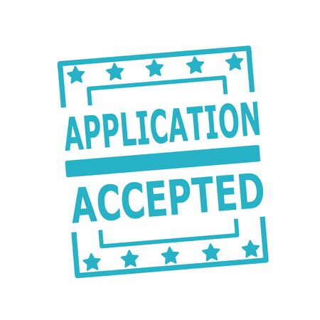 accepted: APPLICATION ,ACCEPTED blue stamp text on squares on white background Stock Photo