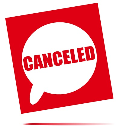 canceled: canceled speech bubble icon Stock Photo