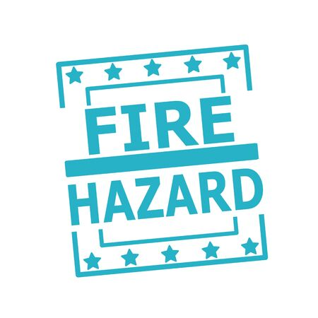 fire hazard: Fire Hazard blue stamp text on squares on white background Stock Photo