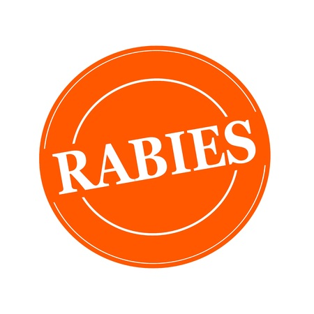 rabies: RABIES white stamp text on circle on orage background