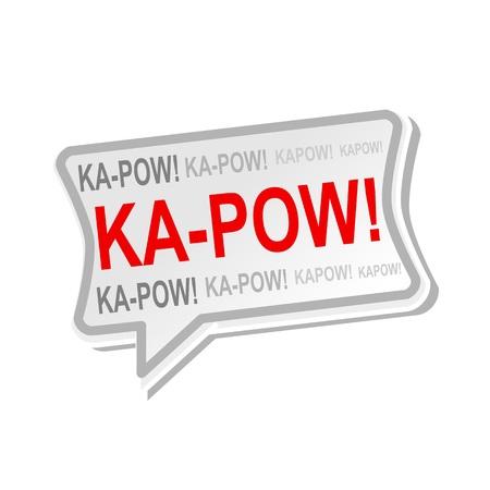 kapow: Ka-pow multicolored word on gray Speech bubbles
