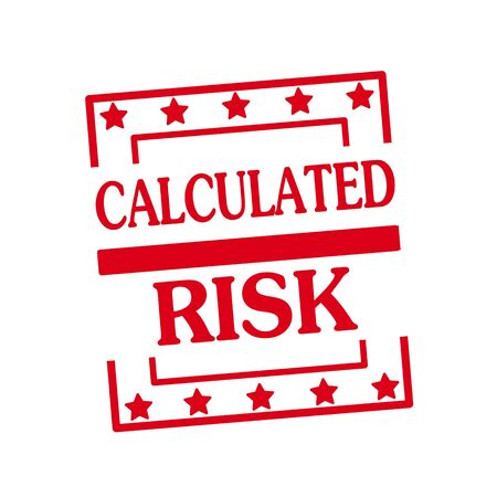 calculated: CALCULATED RISK red stamp text on squares on white background Stock Photo