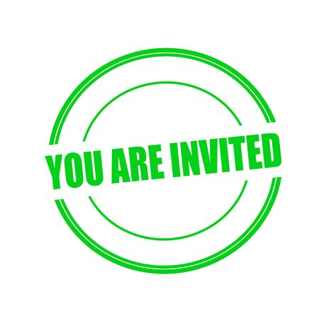 invited: You are invited green stamp text on circle on white background
