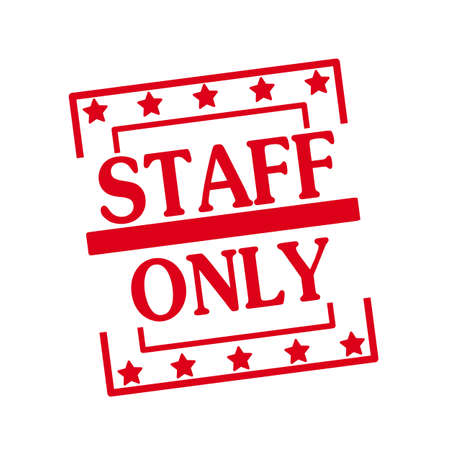 staff only: Staff only red stamp text on squares on white background Stock Photo