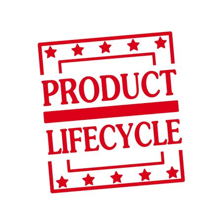 lifecycle: PRODUCT LIFECYCLE red stamp text on squares on white background