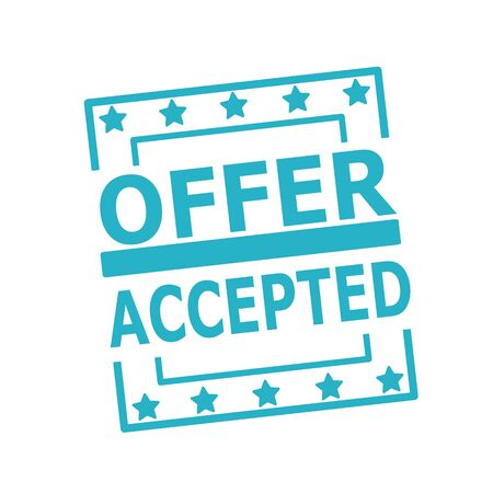 accepted label: OFFER ACCEPTED blue stamp text on squares on white background