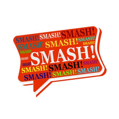 multicolored: Smash multicolored word on red Speech bubbles Stock Photo