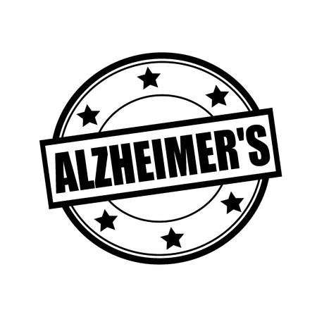 alzheimers: ALZHEIMERS black stamp text on circle on white background and star